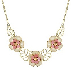 The Collection - Pink crystal flower necklace