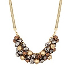 The Collection - Gold bronze bead cluster statement necklace
