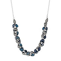 The Collection - Gold blue beaded twist necklace