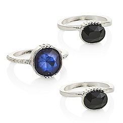 The Collection - Blue stone stacking ring pack