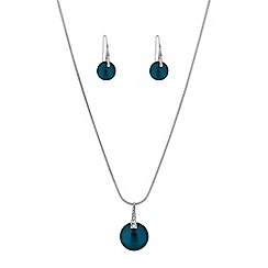 The Collection - Blue button pearl jewellery set