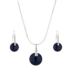 The Collection - Navy button pearl jewellery set