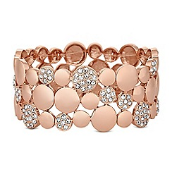The Collection - Rose gold pave crystal disc stretch bracelet