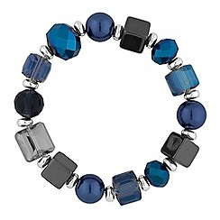 The Collection - Silver blue beaded stretch bracelet