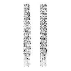 J by Jasper Conran - Silver diamante crystal fringe drop earrings