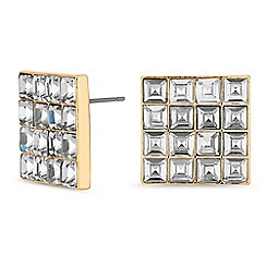 J by Jasper Conran - Gold crystal square stud earrings
