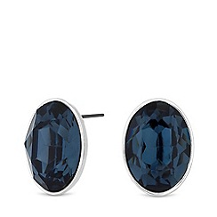 J by Jasper Conran - Silver Plated Blue Glass Clean Casting Oversized Stud Earrings