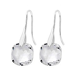 J by Jasper Conran - Silver plated clear glass crystal mini drop earrings