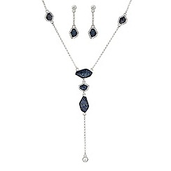 J by Jasper Conran - Designer blue glitter y necklace and matching earring set