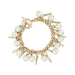 J by Jasper Conran - Gold Plated Pearl and Metal Stick Bracelet