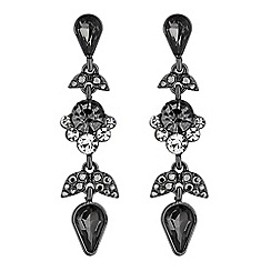 No. 1 Jenny Packham - Designer jet crystal leaf drop earrings