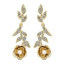 No. 1 Jenny Packham - Designer gold floral drop earrings