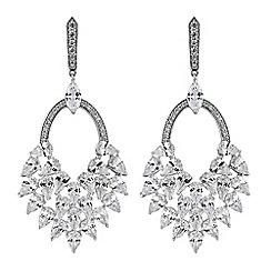 No. 1 Jenny Packham - Silver cubic zirconia statement drop earrings