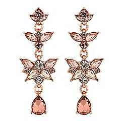 No. 1 Jenny Packham - Rose gold crystal peardrop cluster drop earrings