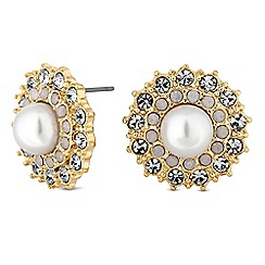 No. 1 Jenny Packham - Gold pearl and crystal floral stud earrings