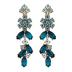 No. 1 Jenny Packham - Gold blue crystal floral drop statement earrings