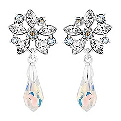 No. 1 Jenny Packham - Silver floral drop earrings embellished with Swarovski crystals