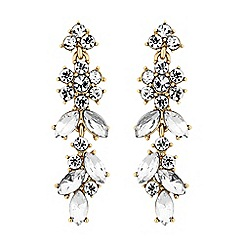 No. 1 Jenny Packham - Gold crystal cluster floral drop earrings