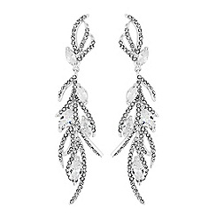 No. 1 Jenny Packham - Silver cubic zirconia embellished feather drop earrings