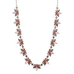 No. 1 Jenny Packham - Designer rose gold multi crystal cluster necklace