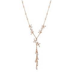 No. 1 Jenny Packham - Designer rose gold cubic zirconia tassel drop necklace