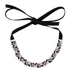 No. 1 Jenny Packham - Designer purple tonal crystal ribbon choker necklace