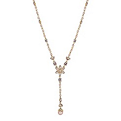 No. 1 Jenny Packham - Designer blush pearl and crystal drop necklace
