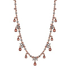 No. 1 Jenny Packham - Rose gold crystal peardrop cluster necklace