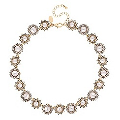 No. 1 Jenny Packham - Gold pearl and crystal floral statement necklace