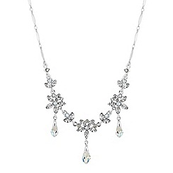 No. 1 Jenny Packham - Silver floral droplet necklace embellished with Swarovski crystals