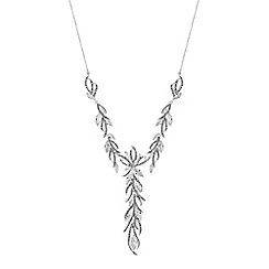 No. 1 Jenny Packham - Silver cubic zirconia embellished feather statement necklace