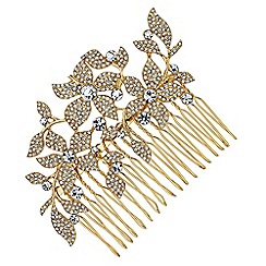 No. 1 Jenny Packham - Designer gold crystal floral hair comb