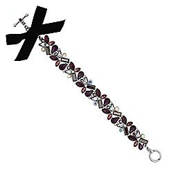 No. 1 Jenny Packham - Designer purple tonal crystal ribbon bracelet