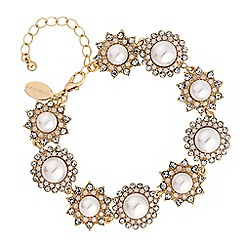 No. 1 Jenny Packham - Gold pearl and crystal floral bracelet