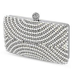 Jon Richard - Silver pearl and crystal embellished evening bag