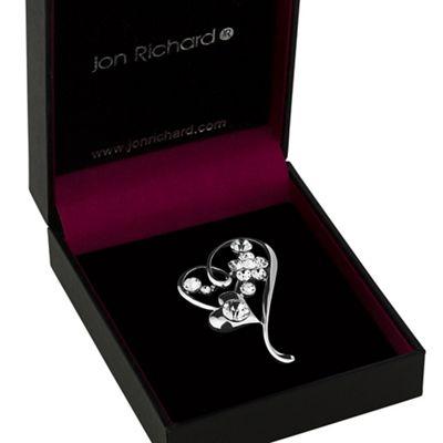 jon richard silver heart and flower brooch