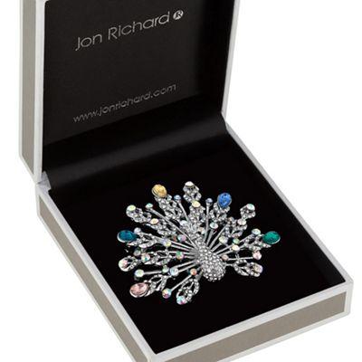 jon richard crystal peacock brooch