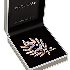 Jon Richard - Crystal crossed leaf brooch