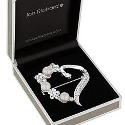 Jon Richard - Floral open heart brooch
