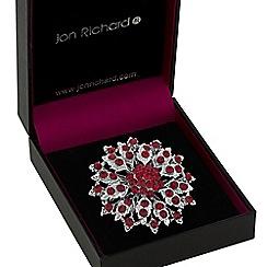 Jon Richard - Silver red crystal flower brooch