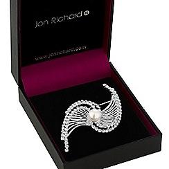 Jon Richard - Silver crystal and pearl fan brooch