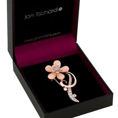 jon richard rose gold pink crystal flower brooch