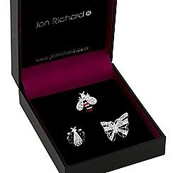 Jon Richard - Silver crystal embellished bug brooch set