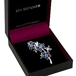 Jon Richard - Silver blue crystal flower brooch