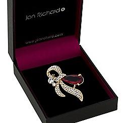 Jon Richard - Gold red crystal ribbon swirl brooch