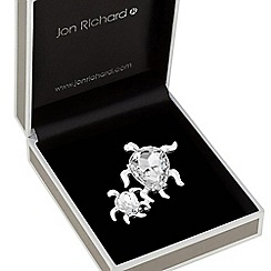 Jon Richard - Silver plated clear crystal turtle animal brooch