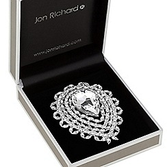 Jon Richard - Silver plated clear crystal statement pear drop decorative brooch