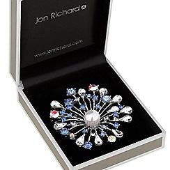 Jon Richard - Silver plated multi-coloured crystal and pearl burst decorative brooch