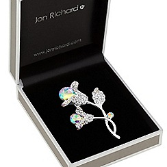 Jon Richard - Silver plated clear crystal tulip floral brooches