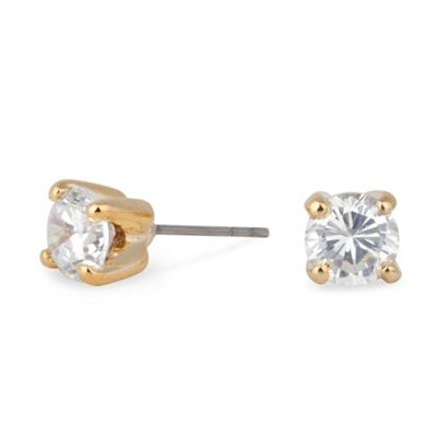 Jon Richard   Sparkling Small Cubic Zirconia Round Gold Stud Earring by Jon Richard